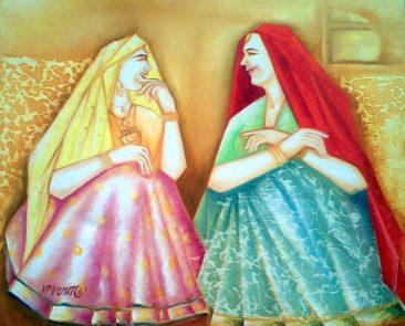 to women chatting, Kurukshetra art, V.P.Verma painting