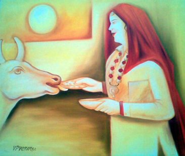 women feeding a cow, Kurukshetra art, V.P.Verma painting