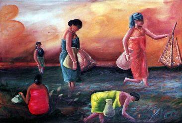 women fishing, Kurukshetra art, V.P.Verma painting