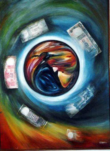 money matters, whirlpool of money, Kurukshetra art, V.P.Verma painting