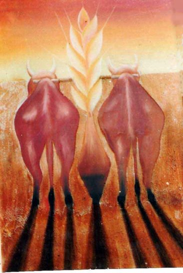 bulls in the fields, Kurukshetra art, V.P.Verma painting