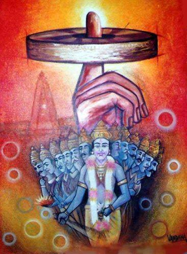 sudarshan Chakra, chakra on finger, Kurukshetra art, V.P.Verma painting