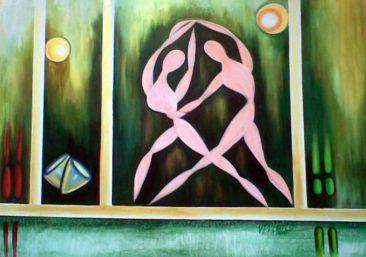 wrestling figures, Kurukshetra art, V.P.Verma painting