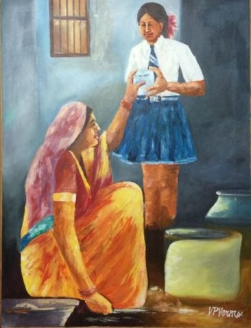 school girl with lunch box, Kurukshetra art, V.P.Verma painting