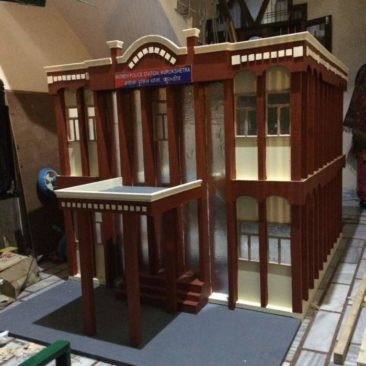 wooden model of police station